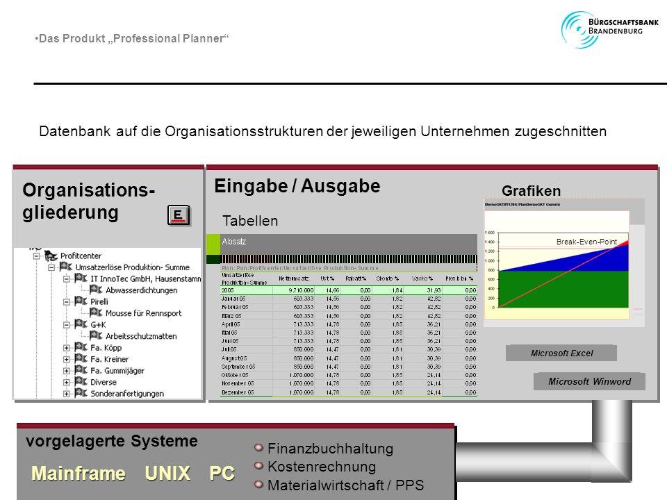 Organisations-gliederung Eingabe / Ausgabe