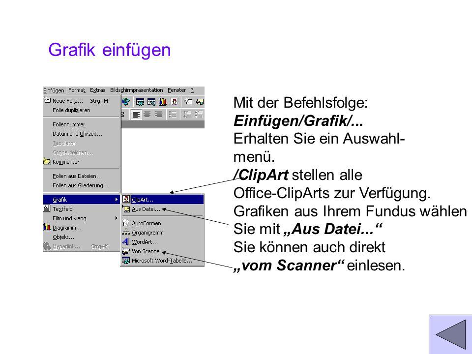 Grafik einfügen Mit der Befehlsfolge: Einfügen/Grafik/...