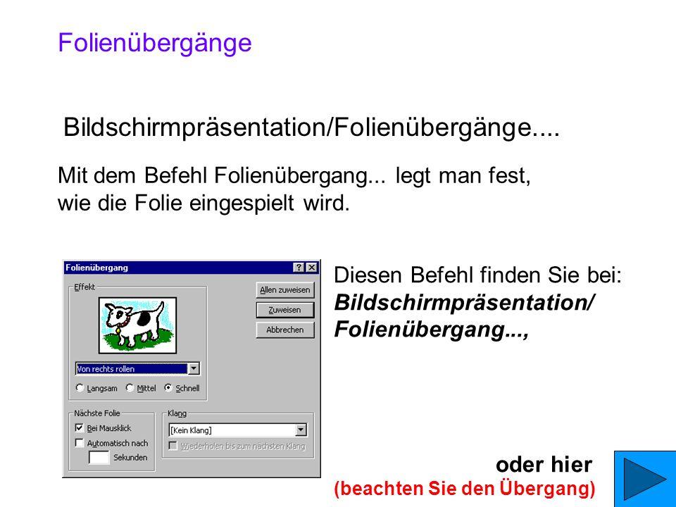Bildschirmpräsentation/Folienübergänge....