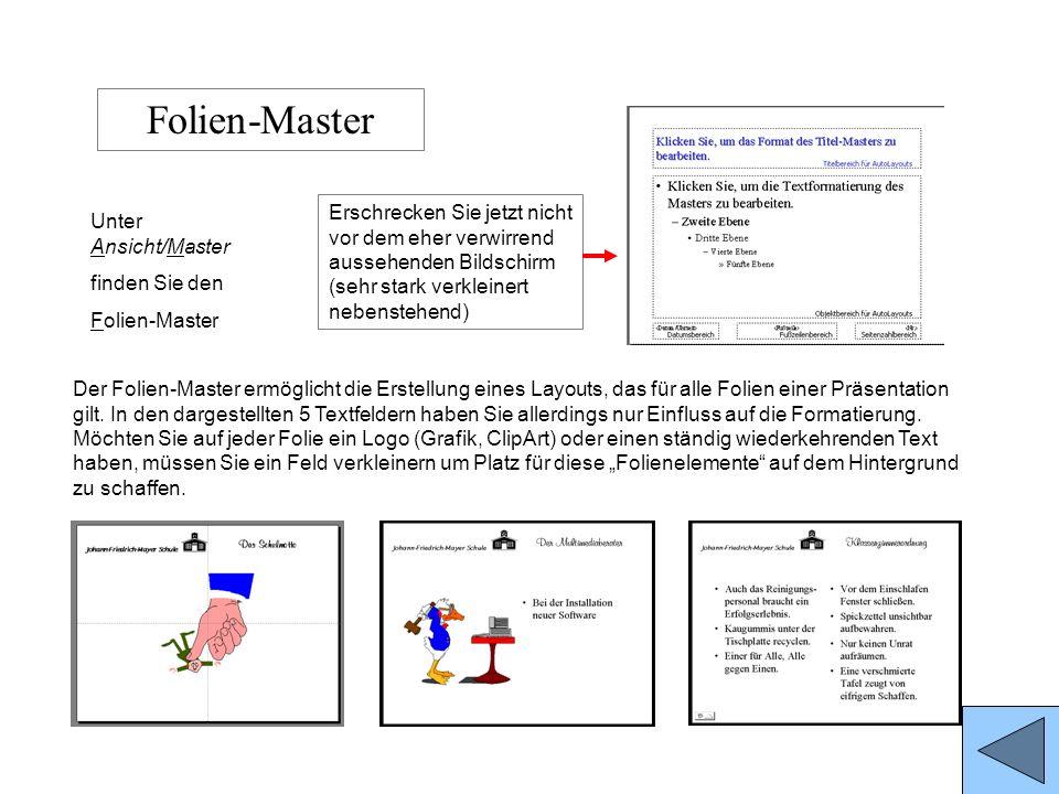 Folien-MasterErschrecken Sie jetzt nicht vor dem eher verwirrend aussehenden Bildschirm (sehr stark verkleinert nebenstehend)