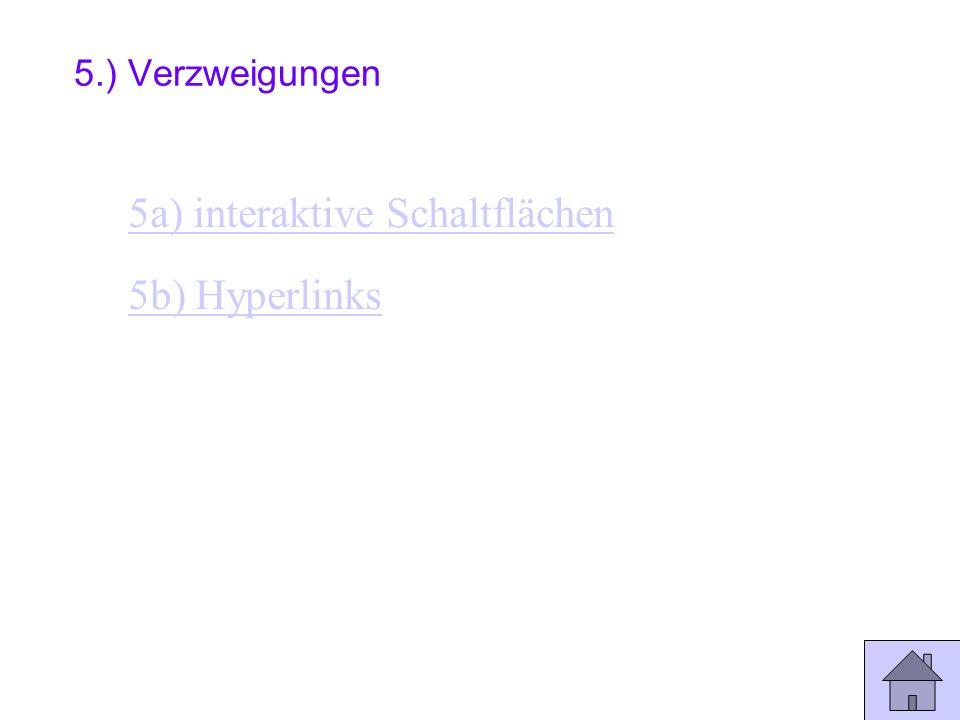 5a) interaktive Schaltflächen 5b) Hyperlinks