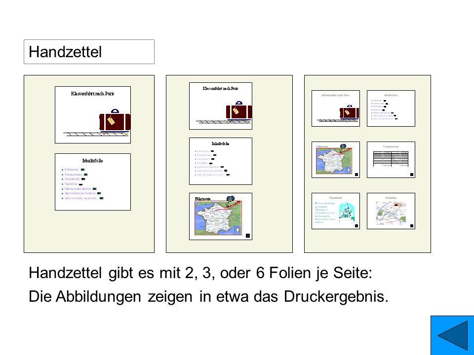 HandzettelHandzettel gibt es mit 2, 3, oder 6 Folien je Seite: Die Abbildungen zeigen in etwa das Druckergebnis.