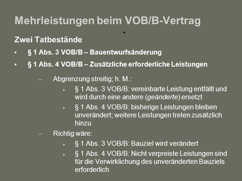Mehrleistungen beim VOB/B-Vertrag