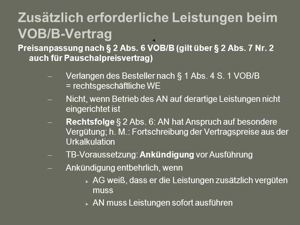 Zusätzlich erforderliche Leistungen beim VOB/B-Vertrag