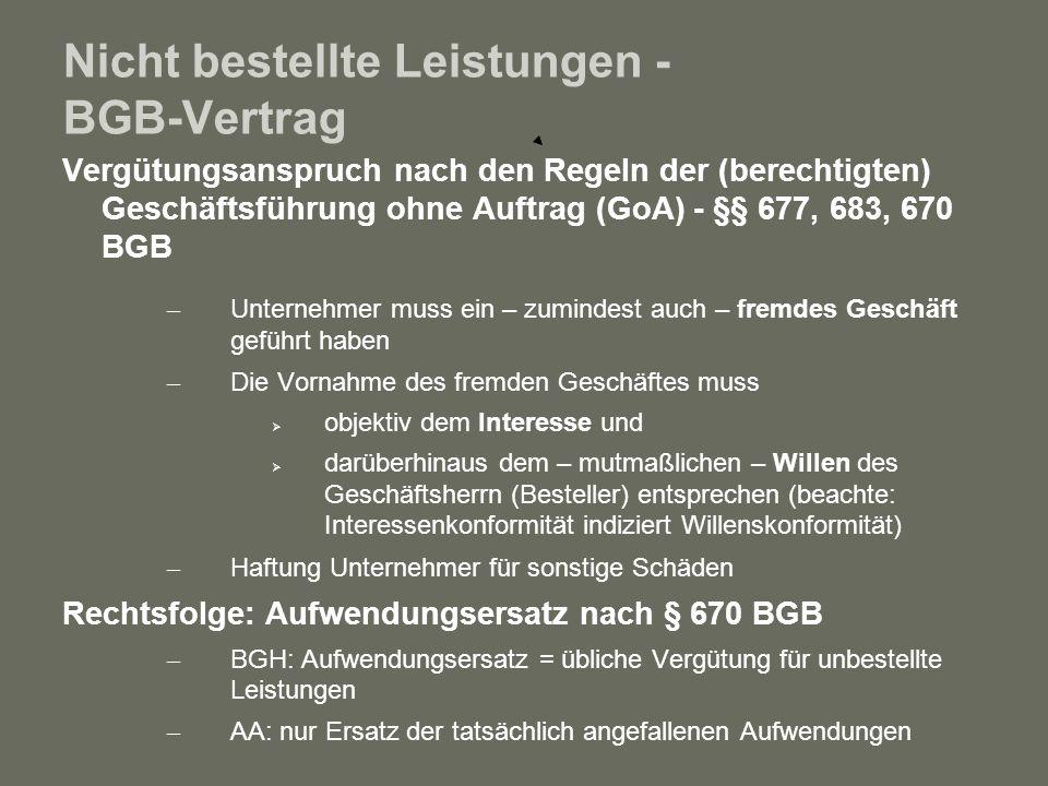 Nicht bestellte Leistungen - BGB-Vertrag