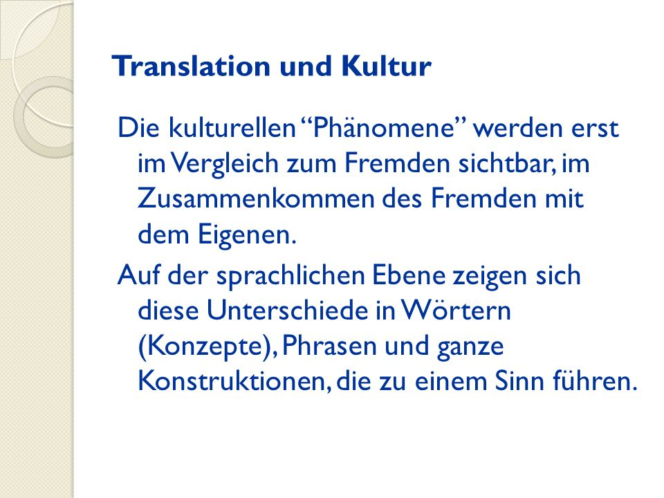 Translation und Kultur