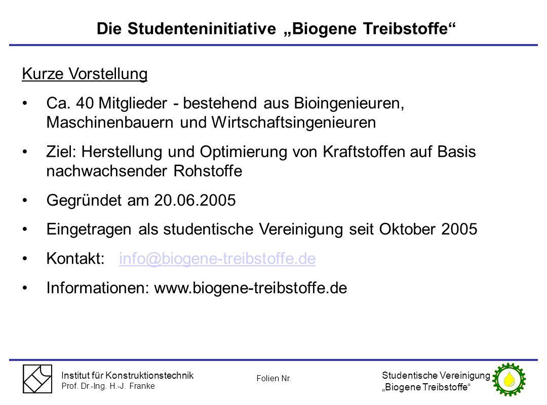 """Die Studenteninitiative """"Biogene Treibstoffe"""