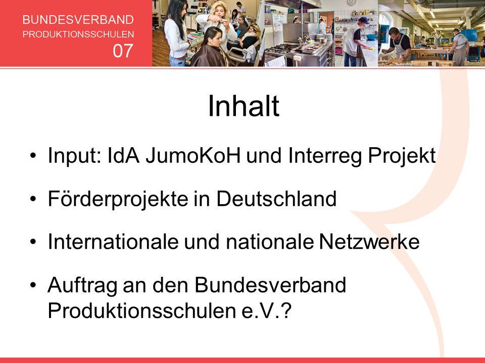 Inhalt Input: IdA JumoKoH und Interreg Projekt