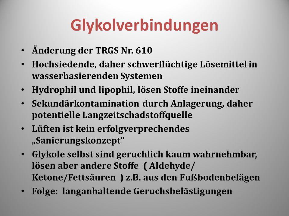 Glykolverbindungen Änderung der TRGS Nr. 610