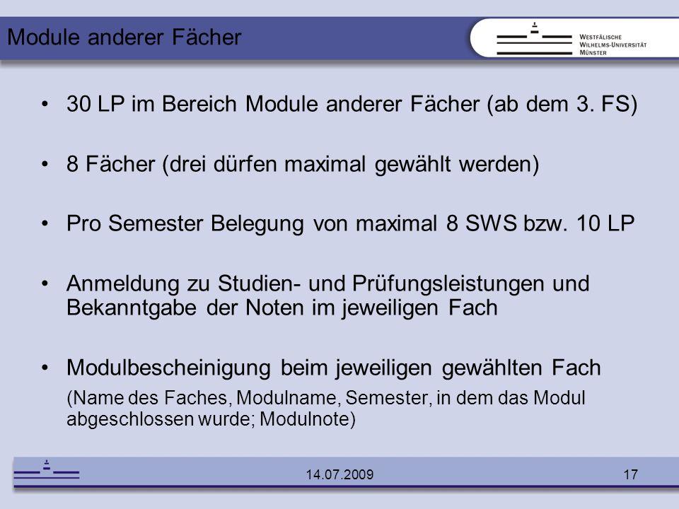 30 LP im Bereich Module anderer Fächer (ab dem 3. FS)