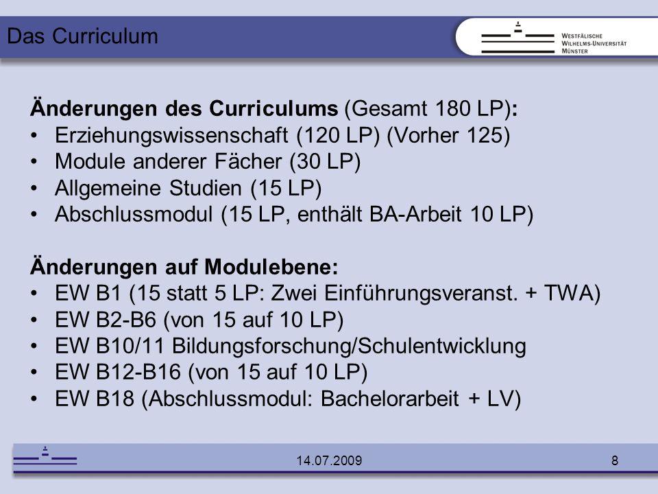 Änderungen des Curriculums (Gesamt 180 LP):