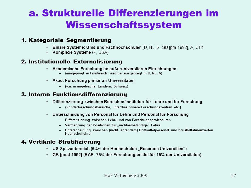 a. Strukturelle Differenzierungen im Wissenschaftssystem