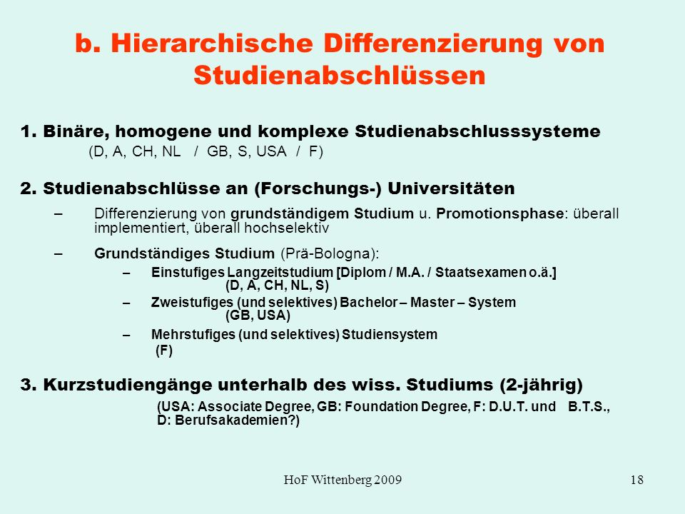 b. Hierarchische Differenzierung von Studienabschlüssen