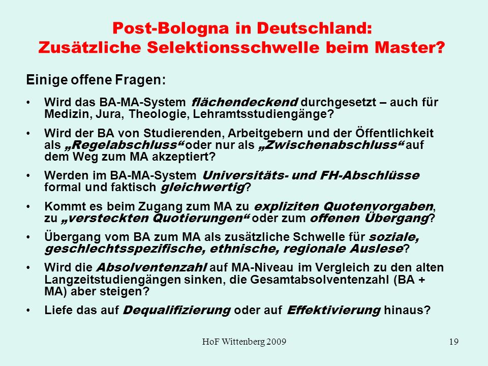 Post-Bologna in Deutschland: Zusätzliche Selektionsschwelle beim Master