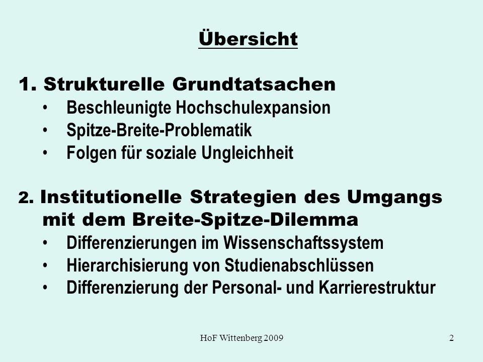 1. Strukturelle Grundtatsachen Beschleunigte Hochschulexpansion
