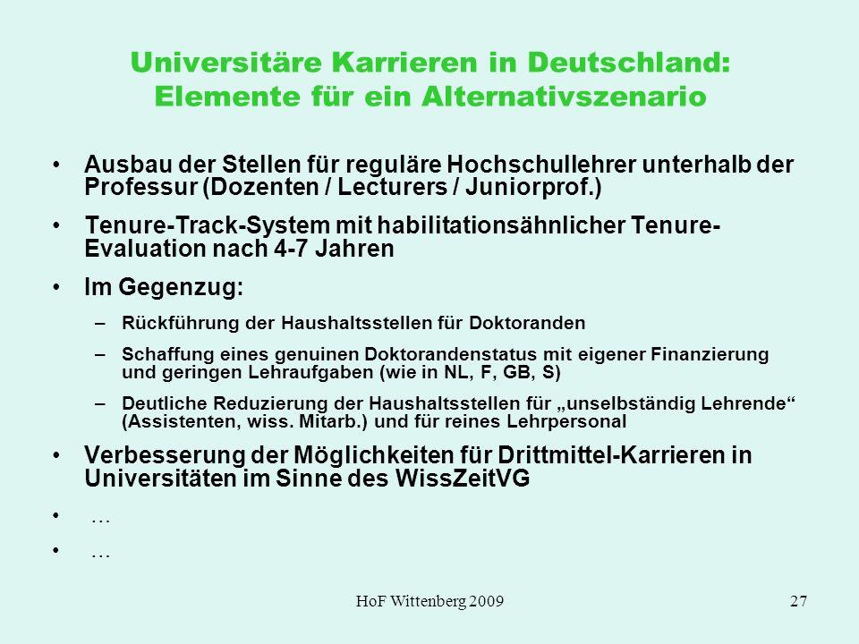 Universitäre Karrieren in Deutschland: Elemente für ein Alternativszenario