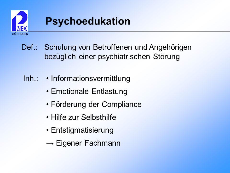 Psychoedukation Def.: Schulung von Betroffenen und Angehörigen bezüglich einer psychiatrischen Störung.