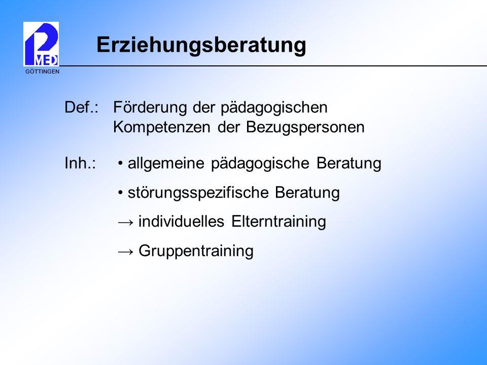 Erziehungsberatung Def.: Förderung der pädagogischen Kompetenzen der Bezugspersonen. Inh.: • allgemeine pädagogische Beratung.