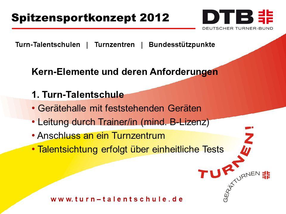 Spitzensportkonzept 2012 Turn-Talentschulen | Turnzentren | Bundesstützpunkte. Kern-Elemente und deren Anforderungen 1. Turn-Talentschule.