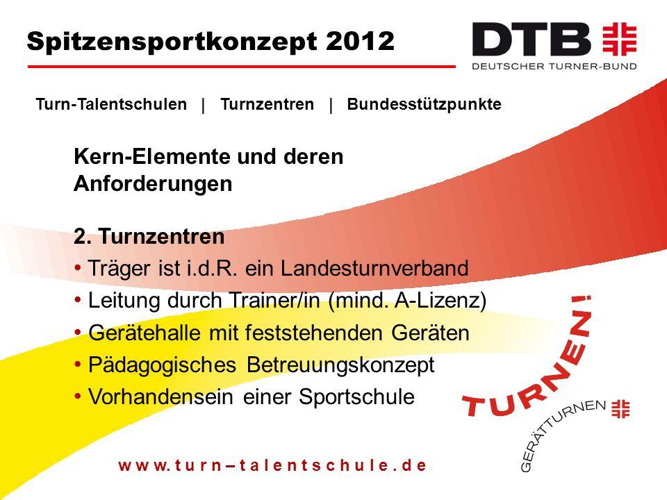 Spitzensportkonzept 2012 Turn-Talentschulen | Turnzentren | Bundesstützpunkte. Kern-Elemente und deren Anforderungen 2. Turnzentren.