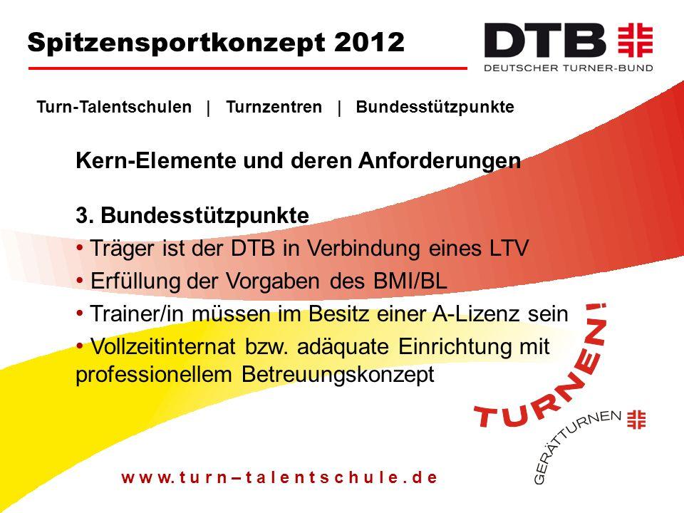 Spitzensportkonzept 2012 Turn-Talentschulen | Turnzentren | Bundesstützpunkte. Kern-Elemente und deren Anforderungen 3. Bundesstützpunkte.