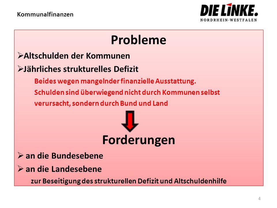 Probleme Forderungen Altschulden der Kommunen