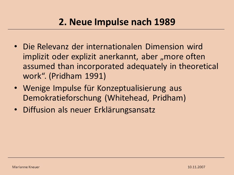 2. Neue Impulse nach 1989
