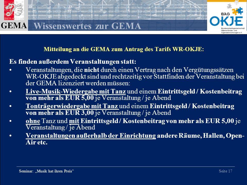 Mitteilung an die GEMA zum Antrag des Tarifs WR-OKJE: