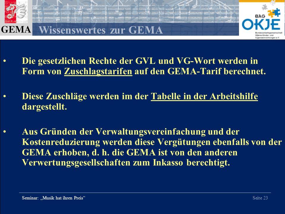 Die gesetzlichen Rechte der GVL und VG-Wort werden in Form von Zuschlagstarifen auf den GEMA-Tarif berechnet.