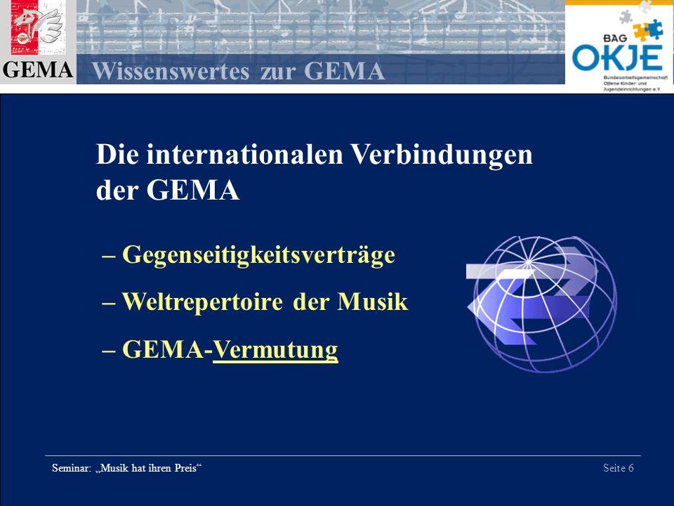 Die internationalen Verbindungen der GEMA