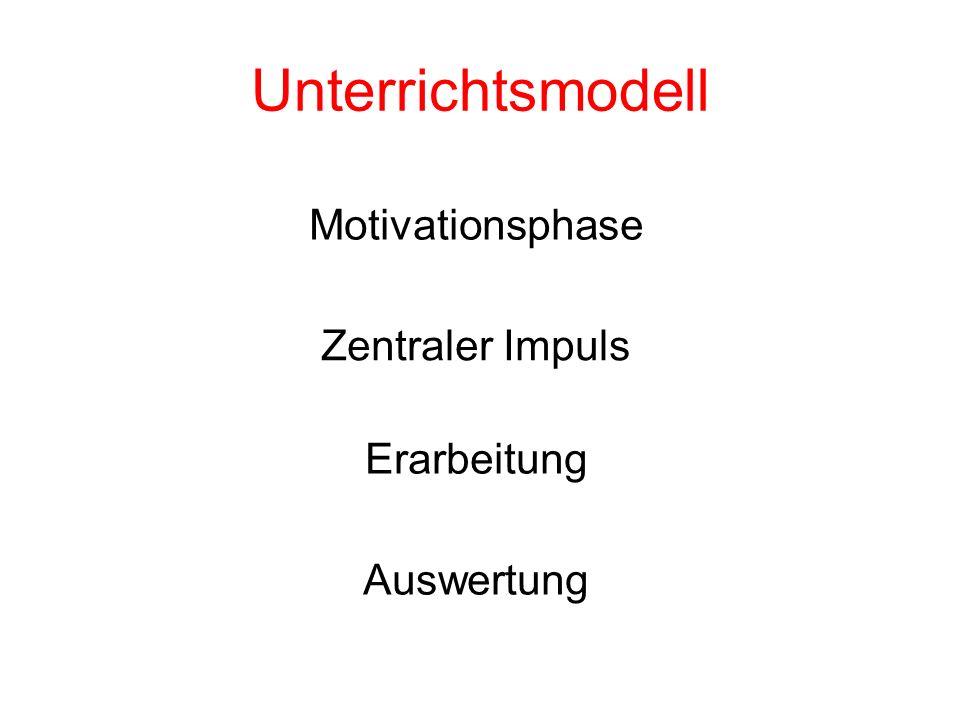 Unterrichtsmodell Motivationsphase Zentraler Impuls Erarbeitung