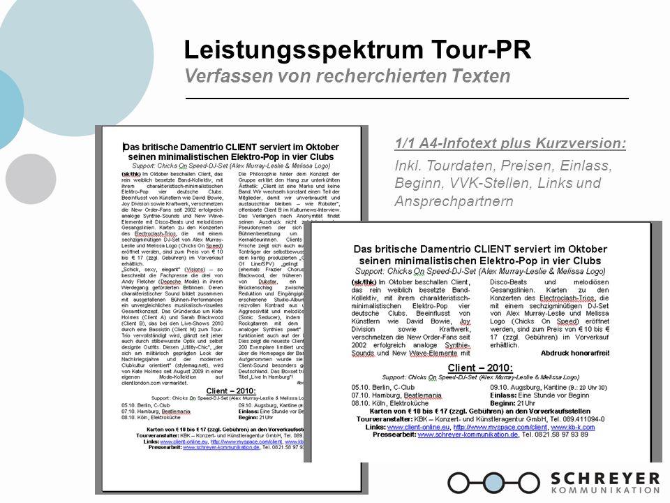 Leistungsspektrum Tour-PR