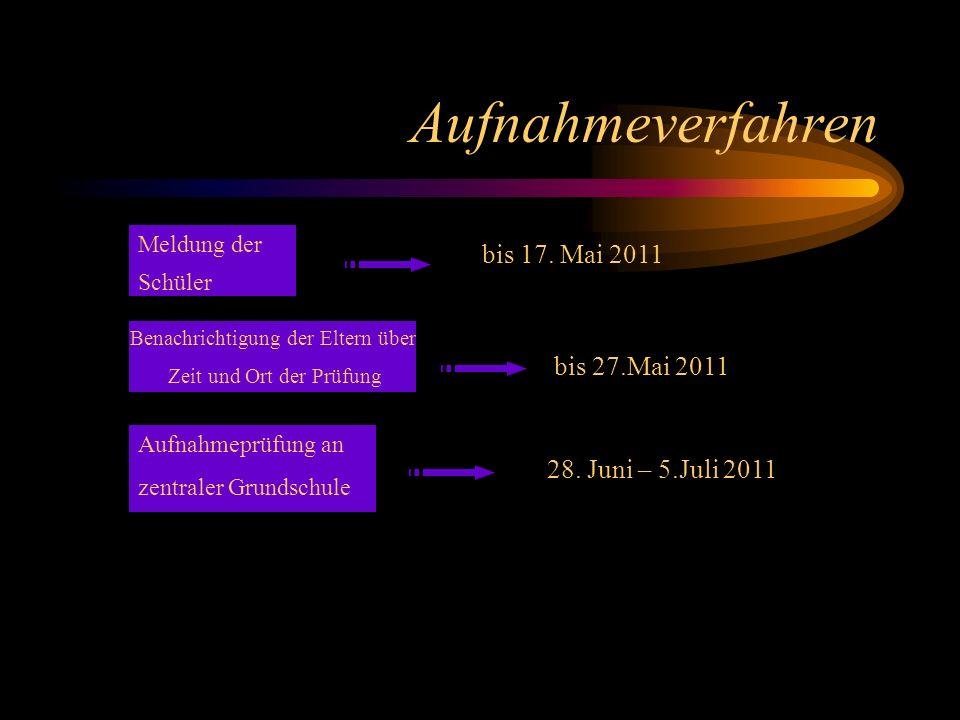 Aufnahmeverfahren bis 17. Mai 2011 bis 27.Mai 2011