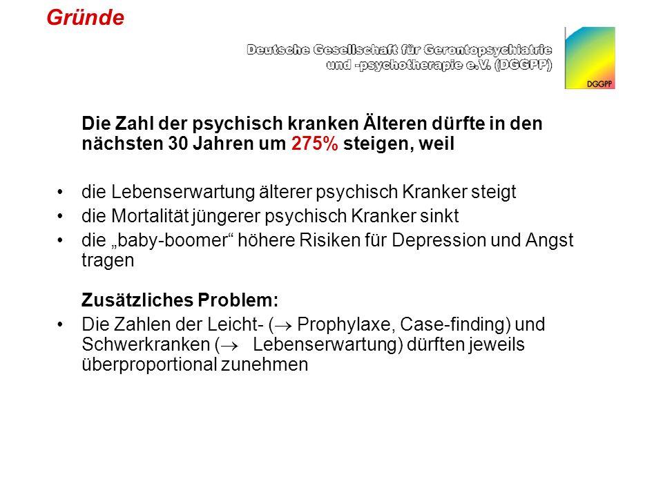 Gründe Die Zahl der psychisch kranken Älteren dürfte in den nächsten 30 Jahren um 275% steigen, weil.