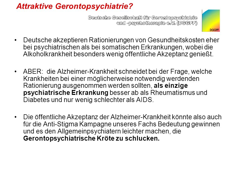 Attraktive Gerontopsychiatrie