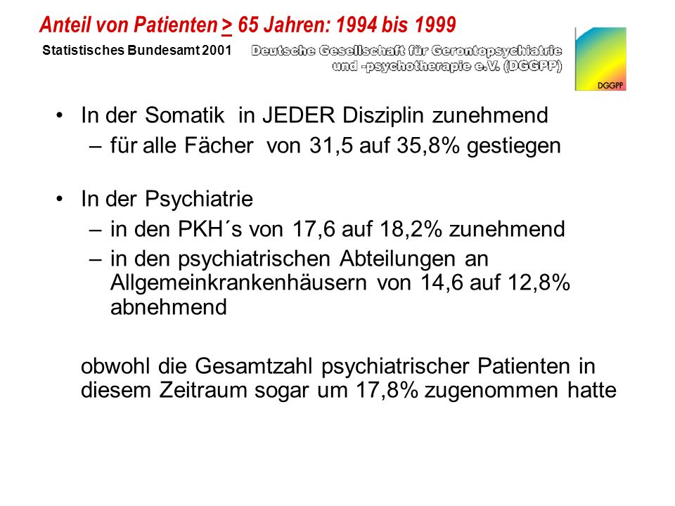 Anteil von Patienten > 65 Jahren: 1994 bis 1999 Statistisches Bundesamt 2001