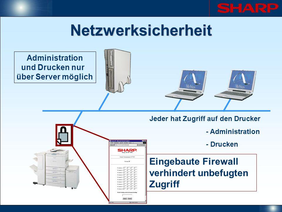 Administration und Drucken nur über Server möglich