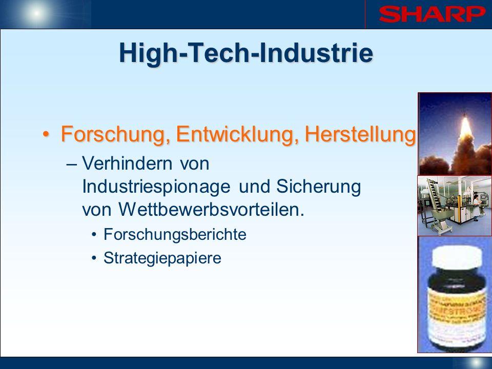 High-Tech-Industrie Forschung, Entwicklung, Herstellung