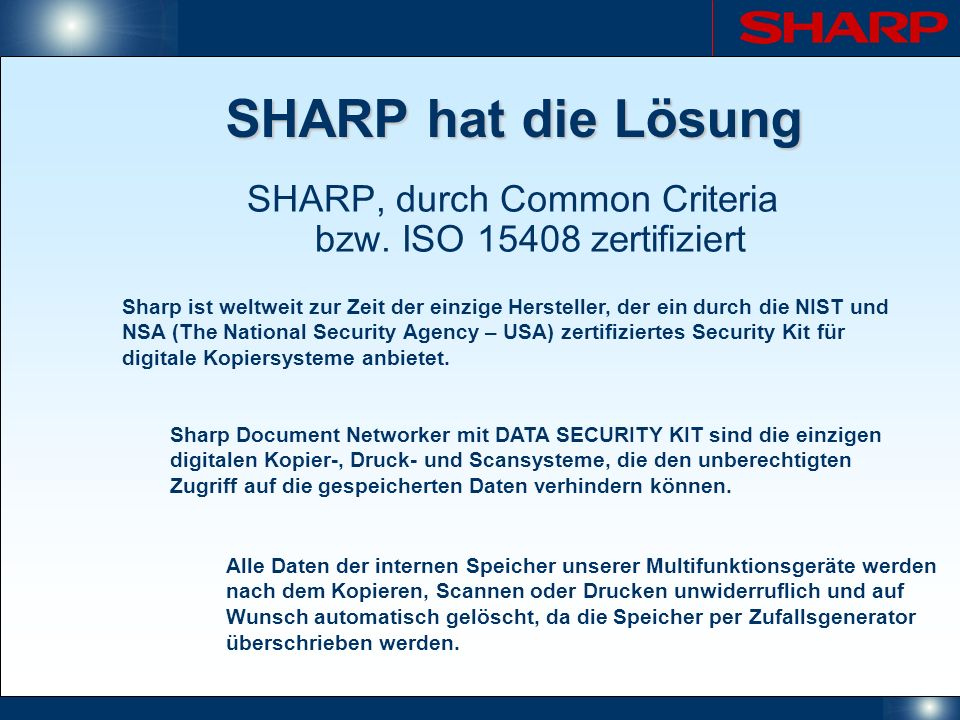 SHARP, durch Common Criteria bzw. ISO 15408 zertifiziert