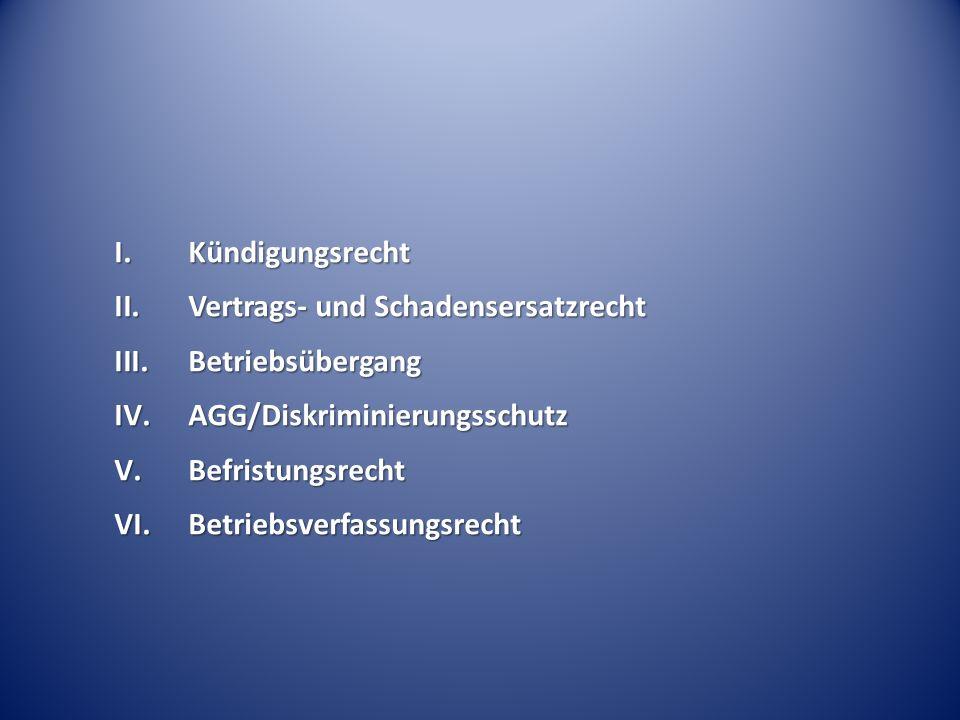 KündigungsrechtVertrags- und Schadensersatzrecht. Betriebsübergang. AGG/Diskriminierungsschutz. Befristungsrecht.