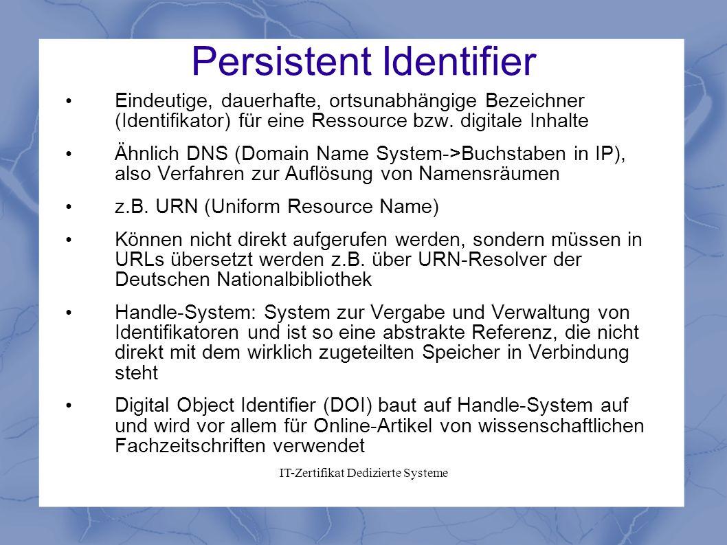 Persistent Identifier