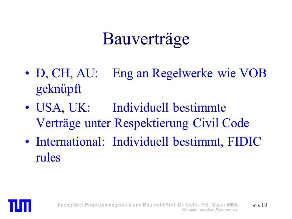 Bauverträge D, CH, AU: Eng an Regelwerke wie VOB geknüpft