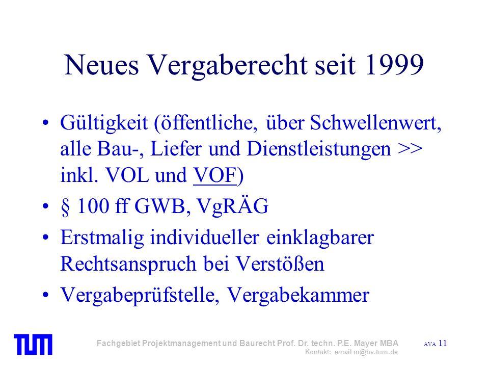 Neues Vergaberecht seit 1999