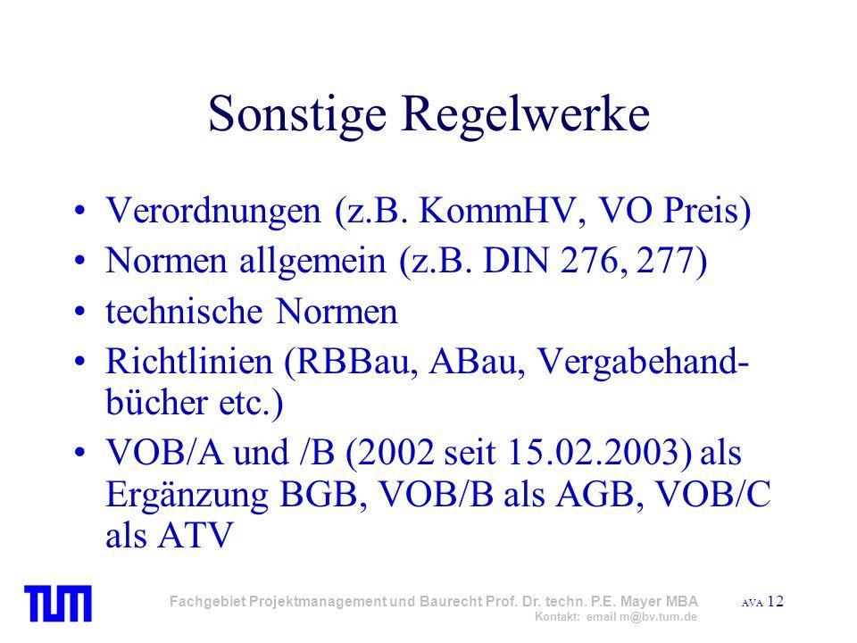 Sonstige Regelwerke Verordnungen (z.B. KommHV, VO Preis)