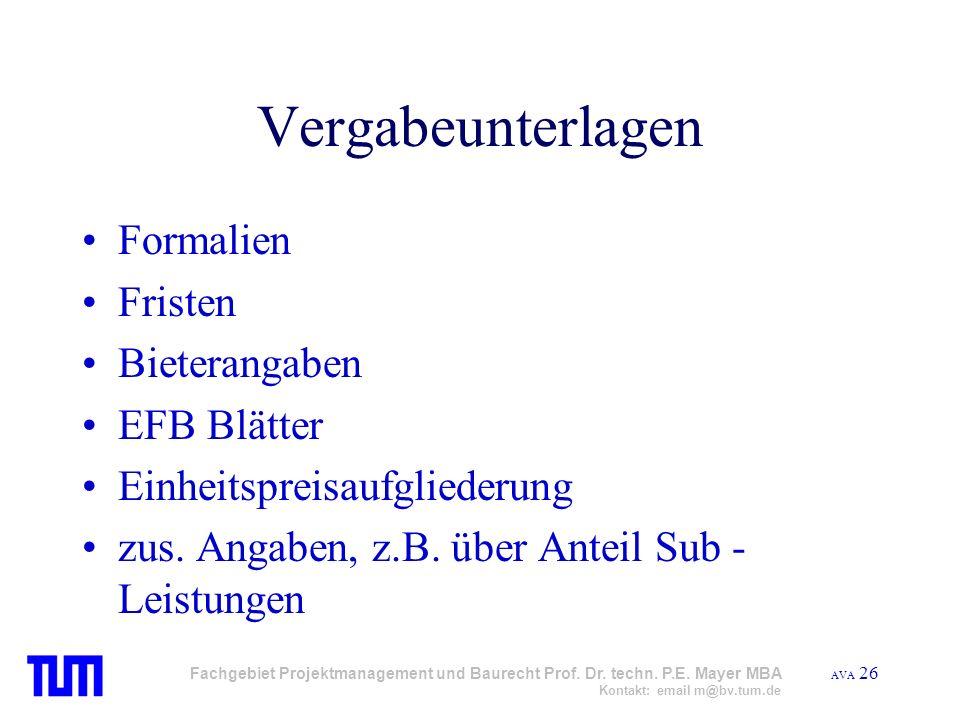 Vergabeunterlagen Formalien Fristen Bieterangaben EFB Blätter