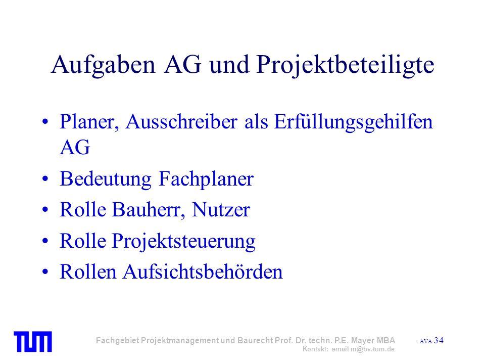 Aufgaben AG und Projektbeteiligte