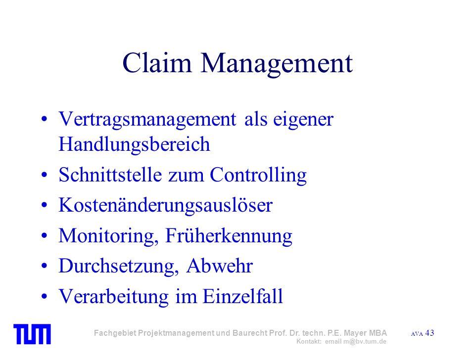 Claim Management Vertragsmanagement als eigener Handlungsbereich