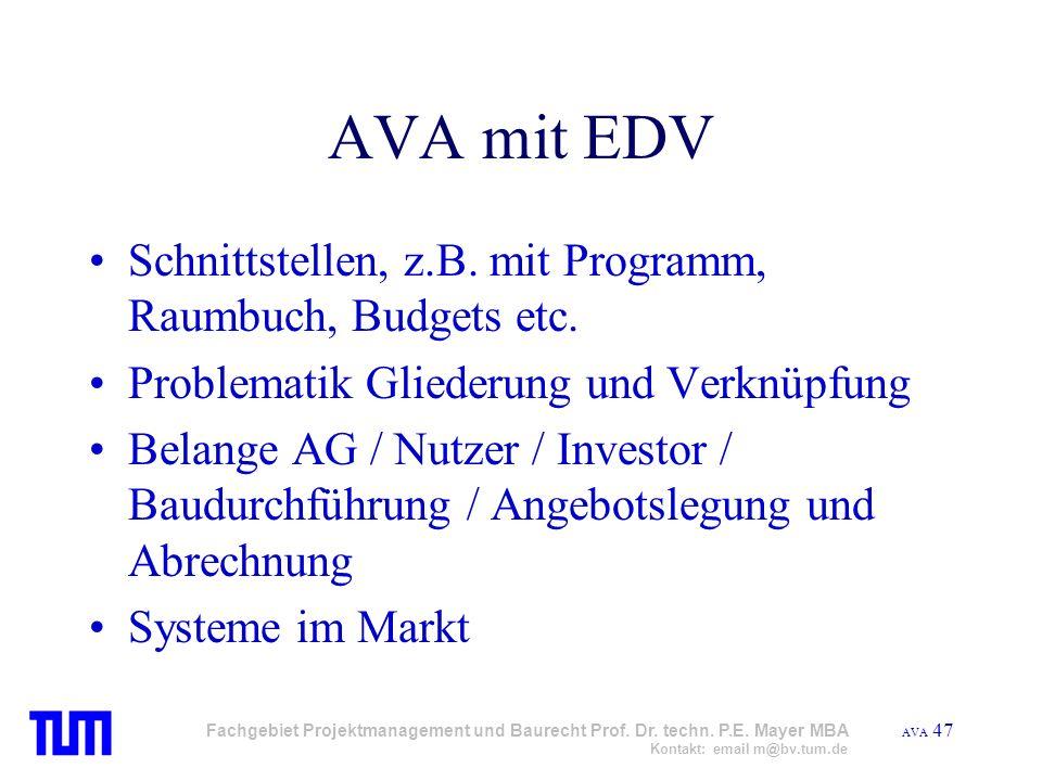 AVA mit EDV Schnittstellen, z.B. mit Programm, Raumbuch, Budgets etc.