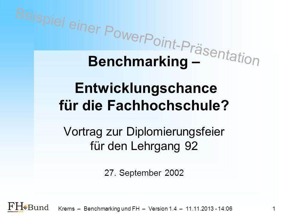 Benchmarking – Entwicklungschance für die Fachhochschule
