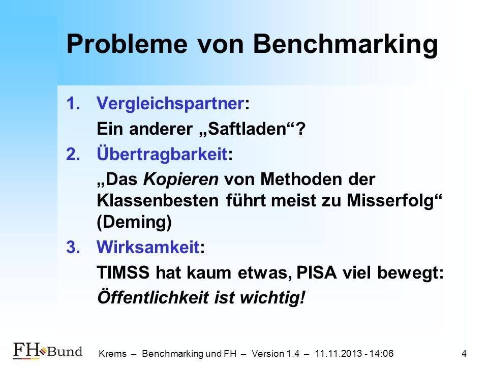 Probleme von Benchmarking